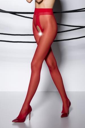 Collants ouverts TI007 - rouge : Collants ouverts en voile rouge 20 deniers.