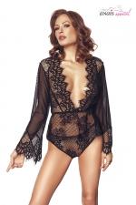 Ensemble dentelle Libby noir - Anaïs : Ensemble de lingerie top manches longues et culotte en tulle et dentelle.