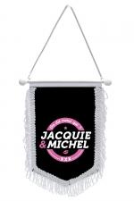 Fanion Jacquie & Michel : Fanion à franges 10x15 cm, noir satiné, avec logo Corporate On dit Merci qui? Merci Jacquie et Michel sur la face avant.