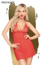 Nuisette Bedtime Story rouge - Penthouse : Nuisette sexy rouge et string assorti, par penthouse Lingerie.